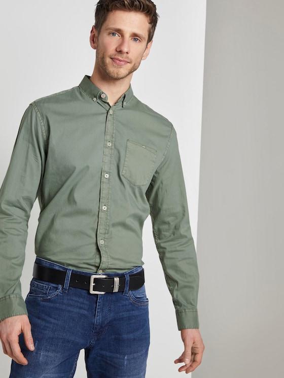 Oxford Hemd mit Brusttasche - Männer - Pale Bark Green - 5 - TOM TAILOR