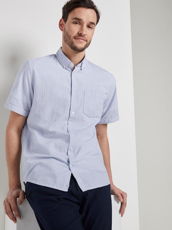 Strukturiertes Kurzarmhemd mit Streifen - Männer - light blue white dobby stripe - 5 - TOM TAILOR