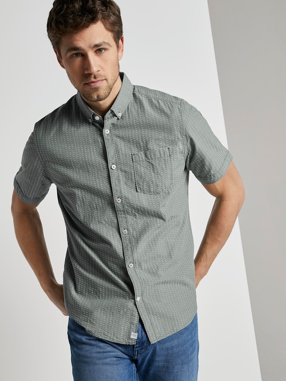 Strukturiertes Kurzarmhemd mit Streifen - Männer - olive white dobby stripe - 5 - TOM TAILOR