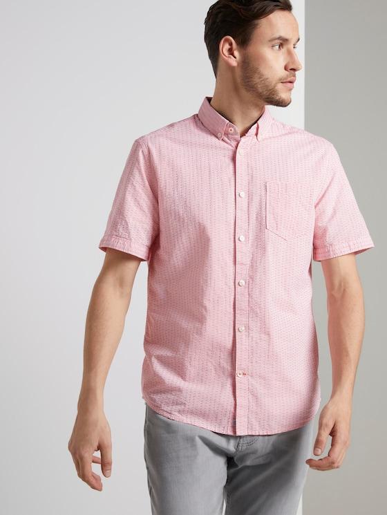 Strukturiertes Kurzarmhemd mit Streifen - Männer - red white dobby stripe - 5 - TOM TAILOR
