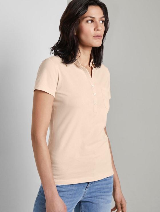 Basic Poloshirt mit Brusttasche - Frauen - soft vanilla - 5 - TOM TAILOR