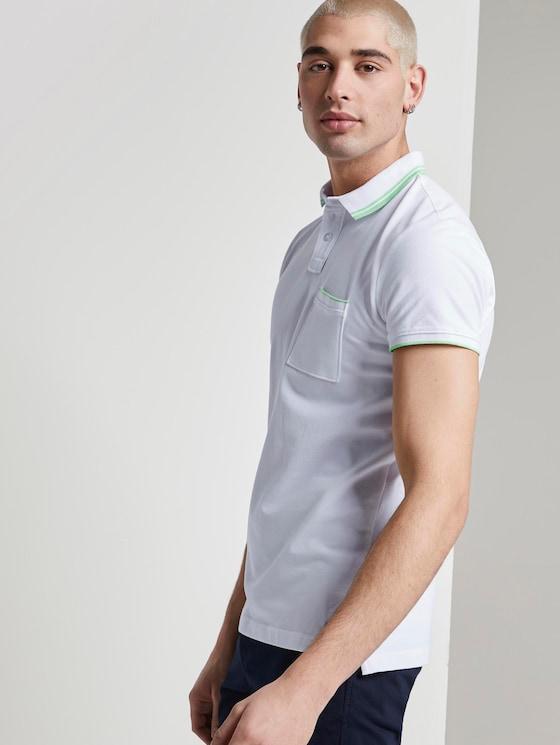 Poloshirt mit Kontraststreifen - Männer - White - 5 - TOM TAILOR Denim
