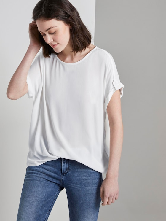 Blouse top with turn-ups - Women - Off White - 5 - TOM TAILOR Denim