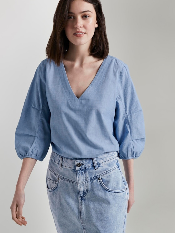 Bluse mit Ballonärmeln - Frauen - Light Blue Chambray - 5 - TOM TAILOR Denim