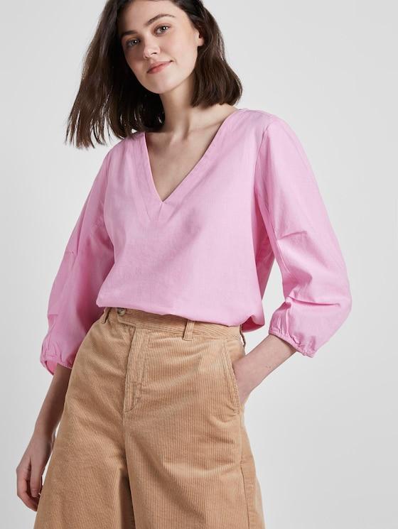 Bluse mit Ballonärmeln - Frauen - bright pink chambray - 5 - TOM TAILOR Denim