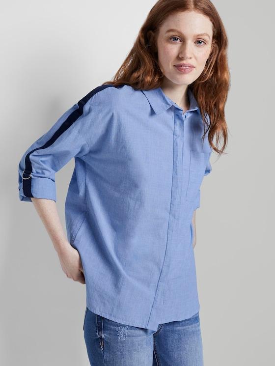 Oversized Hemdbluse mit Tape und Turn-Ups - Frauen - Light Blue Chambray - 5 - TOM TAILOR Denim