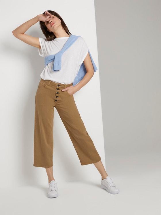 Coloured Denim Culotte - Frauen - clay beige - 3 - Mine to five