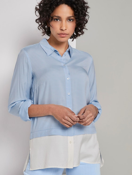 Gestreifte Double-Layer Bluse - Frauen - Soft Charming Blue - 5 - Mine to five