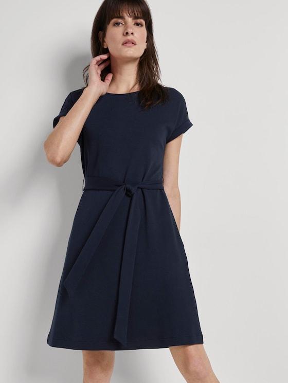 Kleid mit Bindegürtel - Frauen - Sky Captain Blue - 5 - Mine to five