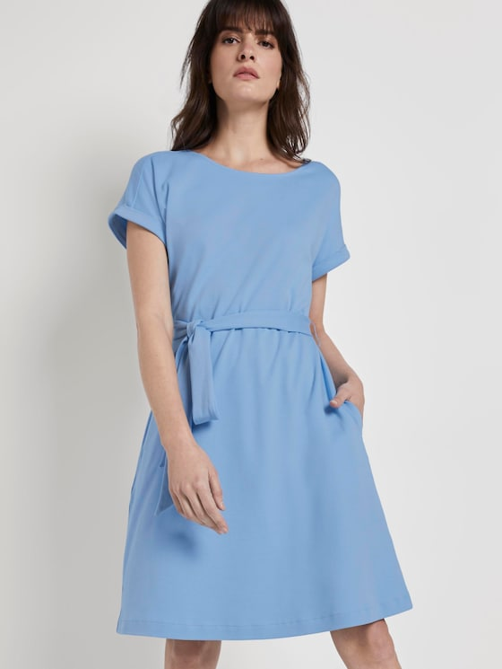 Dress with a tie belt -  - Soft Charming Blue - 5 - Mine to five