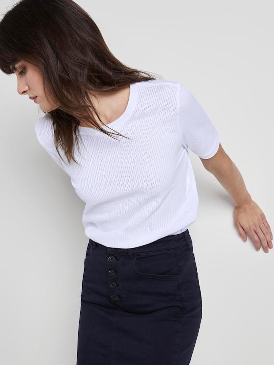 T-Shirt mit Struktur - Frauen - White - 5 - Mine to five