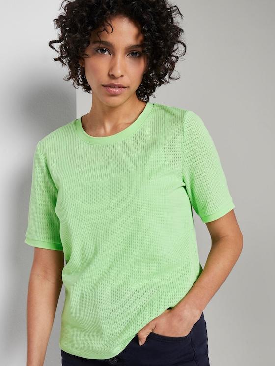 T-Shirt mit Struktur - Frauen - light spring green - 5 - Mine to five