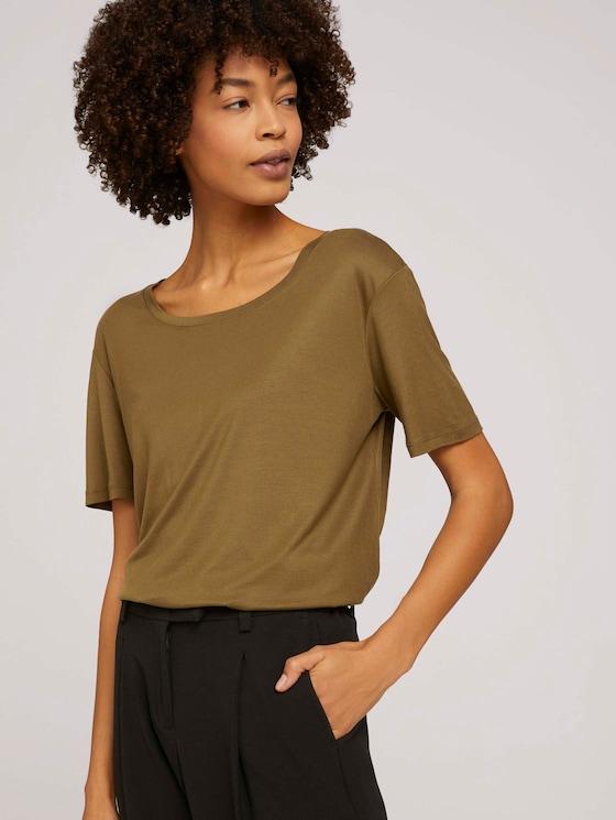 Schlichtes T-Shirt aus Lyocell - Frauen - Military Olive Green - 5 - Mine to five