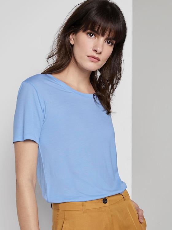 Schlichtes T-Shirt aus Lyocell - Frauen - Soft Charming Blue - 5 - Mine to five