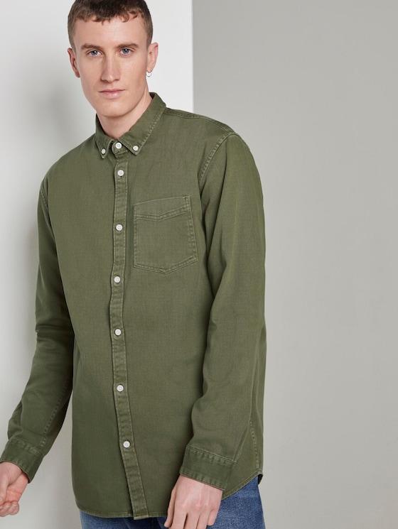 Hemd mit Brusttasche - Männer - faded moss green - 5 - TOM TAILOR Denim
