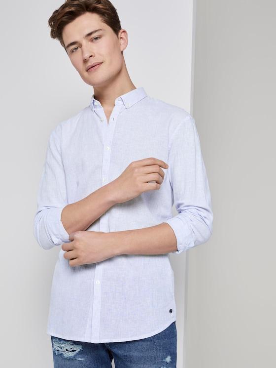 Strukturiertes Hemd aus Leinengemisch - Männer - blue white fine linen stripe - 5 - TOM TAILOR Denim