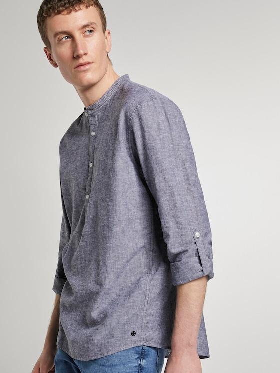 Shirt with half a button tab - Men - Black - 5 - TOM TAILOR Denim