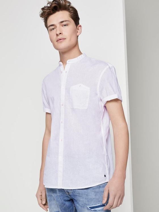 Kurzarmhemd mit Mao-Kragen aus Leinengemisch - Männer - White - 5 - TOM TAILOR Denim