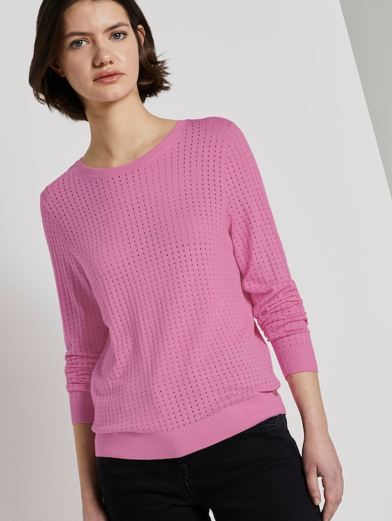 Basic jumper with a mesh structure - Women - bright pink - 5 - TOM TAILOR Denim