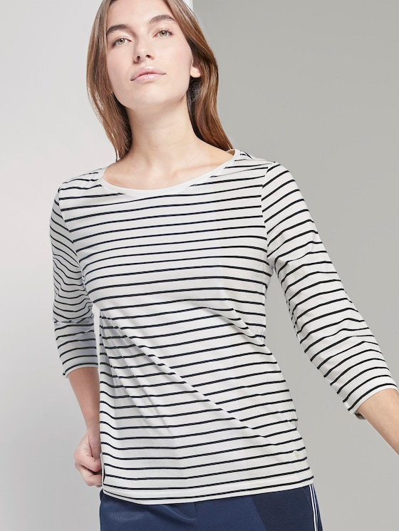Maritime long-sleeved shirt - Women - white stripe design - 5 - TOM TAILOR