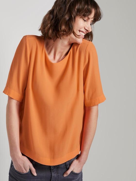 Elegant crepe T-shirt - Women - fruity melon orange - 5 - TOM TAILOR