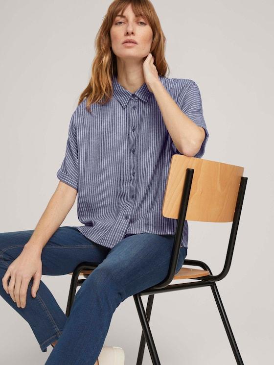 Loose gestreepte blouse - Vrouwen - navy white vertical stripe - 5 - TOM TAILOR