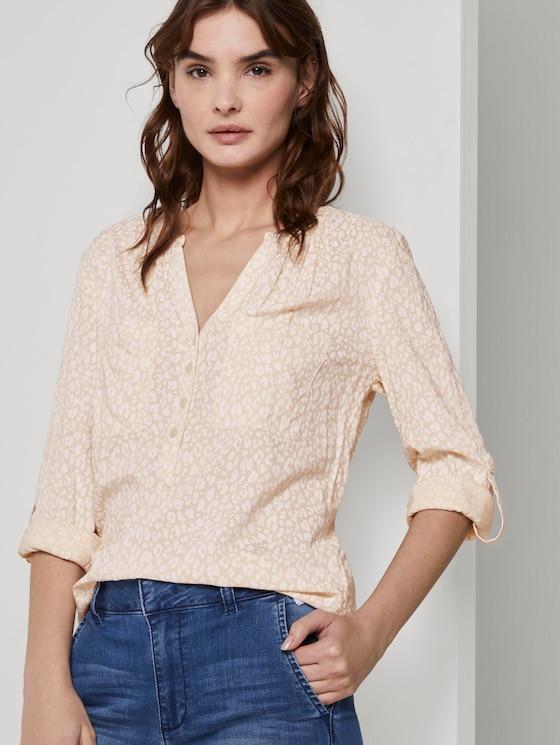 Langärmlige Bluse mit ganzflächigem Muster - Frauen - beige small leo design - 5 - TOM TAILOR
