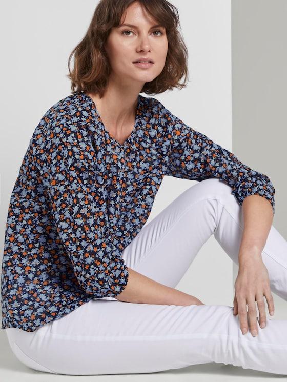 Bluse mit Raffungen - Frauen - navy floral design - 5 - TOM TAILOR