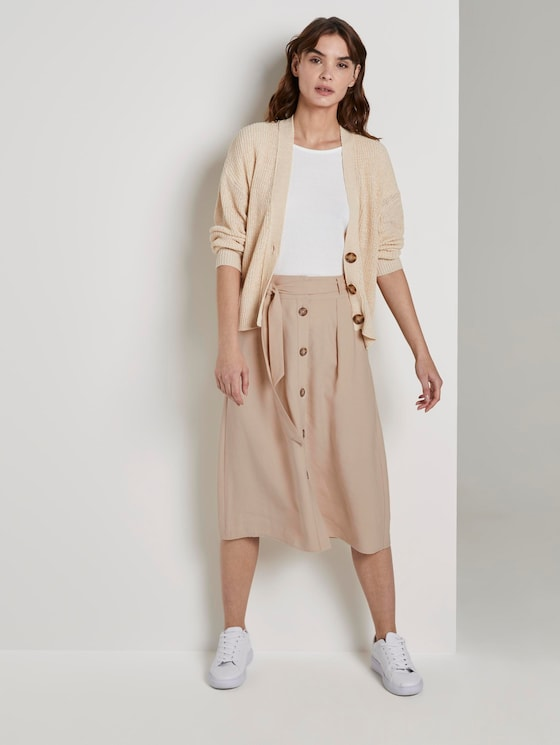Skirt with a button tab - Women - cream toffee - 3 - TOM TAILOR