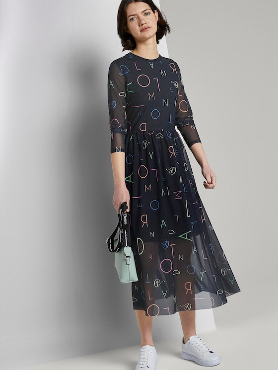 Gemustertes Midi-Kleid mit geripptem Ausschnitt - Frauen - navy letter print - 5 - TOM TAILOR Denim