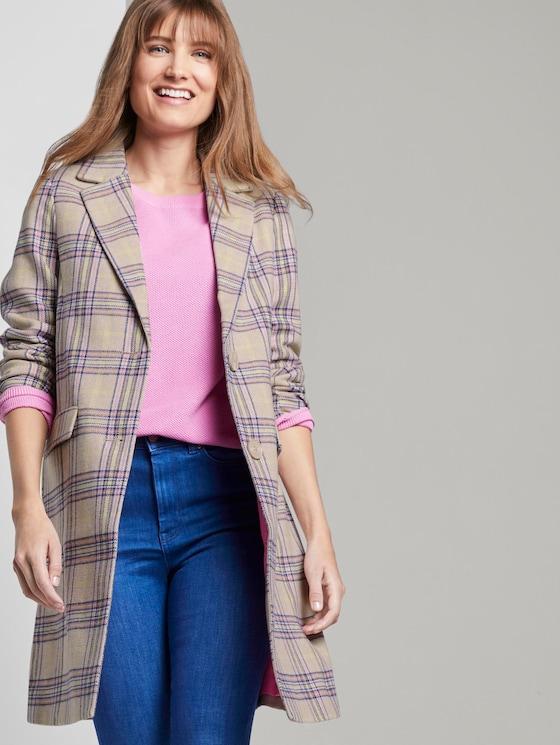 Taillierter Mantel im Karo-Muster - Frauen - beige neon check - 5 - TOM TAILOR Denim