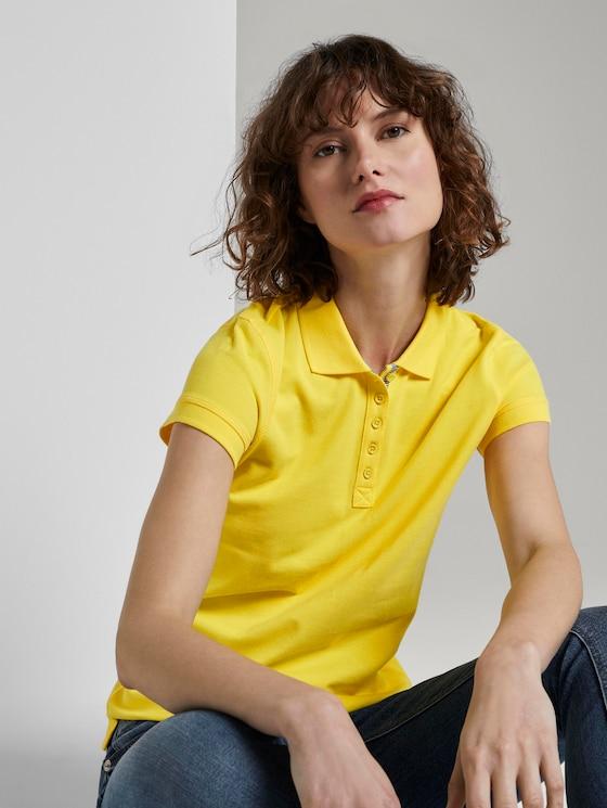 Textured polo shirt - Women - jasmine yellow - 5 - TOM TAILOR