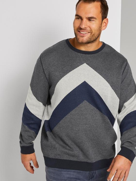 strukturiertes Sweatshirt - Männer - grey melange navy birdseye - 5 - Men Plus