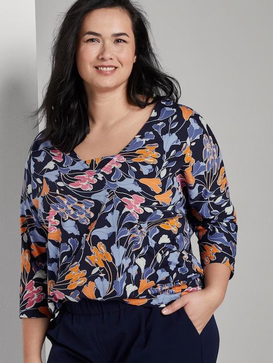 Wrap-look T-shirt - Women - colorful blue flower print - 5 - My True Me