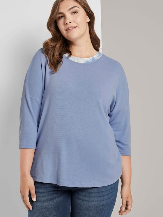 3/4 Arm Shirt mit Rippkragen - Frauen - Parisienne Blue - 5 - My True Me