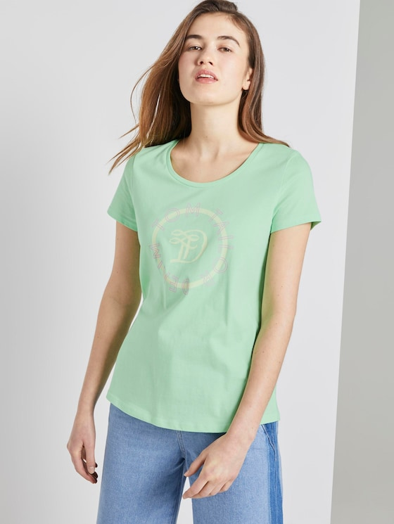 T-Shirt mit Logo-Print - Frauen - soft neo green - 5 - TOM TAILOR Denim