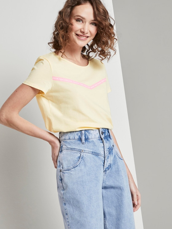 T-shirt with printed stripes - Women - pale yellow - 5 - TOM TAILOR Denim
