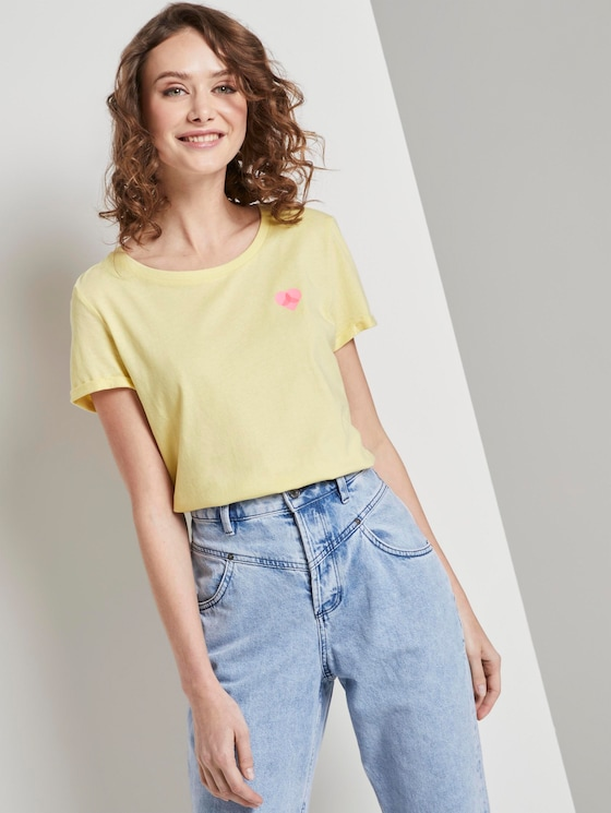 Nena & Larissa: T-Shirt mit beidseitigem Print - Frauen - pale yellow - 5 - TOM TAILOR Denim