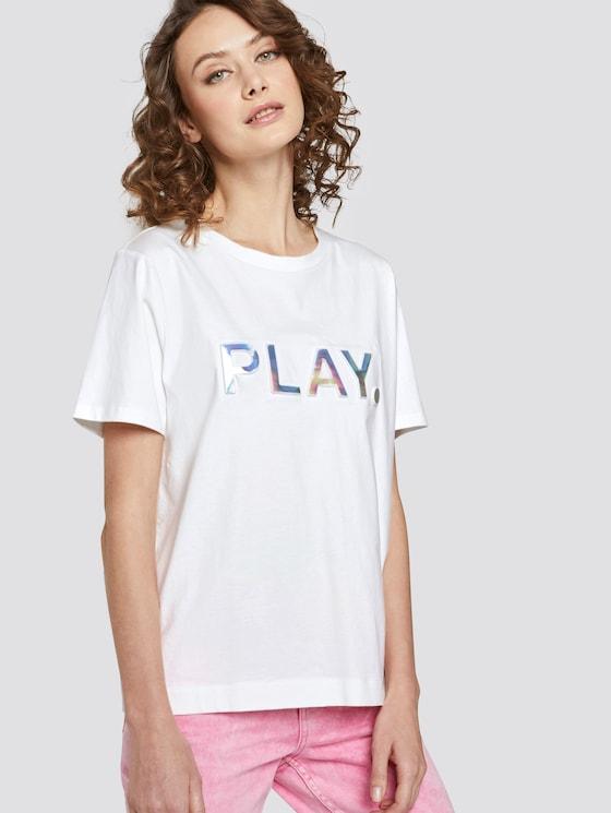 Lockeres T-Shirt mit Print - Frauen - Off White - 5 - TOM TAILOR Denim