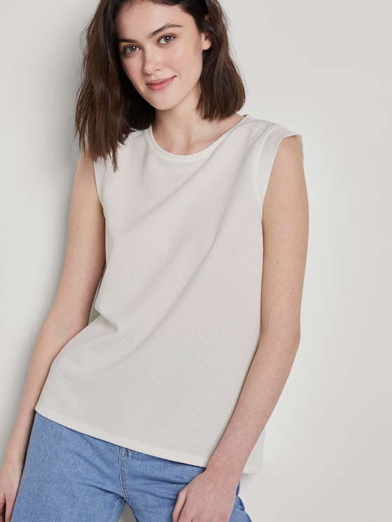 Printed top with wing sleeves - Women - Off White - 5 - TOM TAILOR Denim