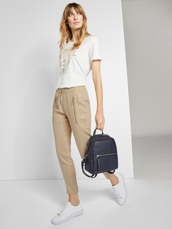 Loose trousers with an elastic waistband - Women - cream toffee - 3 - TOM TAILOR