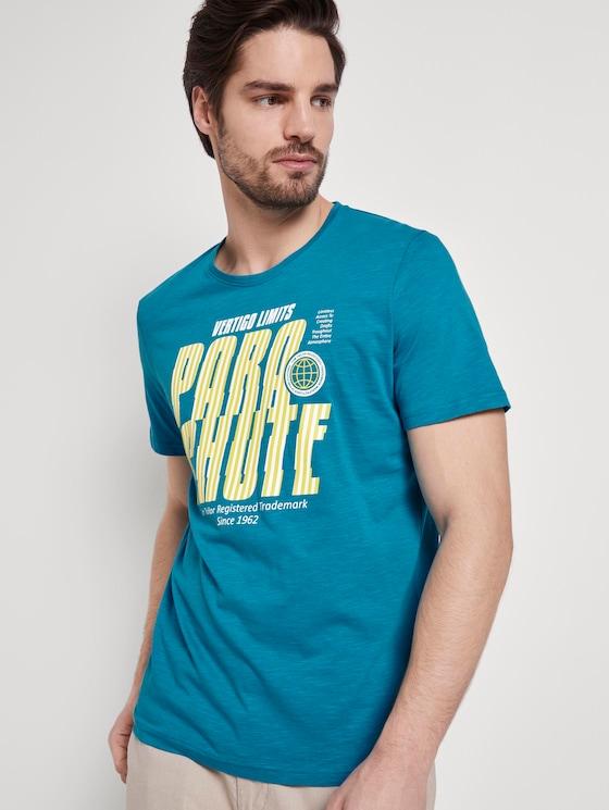 Sportliches T-Shirt mit Print - Männer - teal bay green - 5 - TOM TAILOR