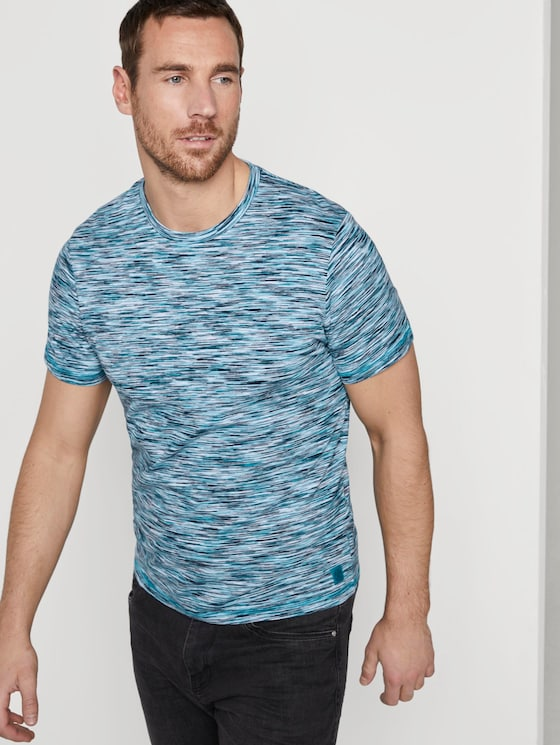 Bunt meliertes T-Shirt - Männer - teal spacedye - 5 - TOM TAILOR