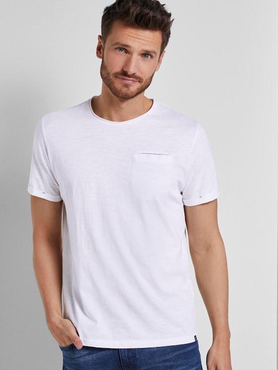 T-Shirt in Melange-Struktur - Männer - White - 5 - TOM TAILOR