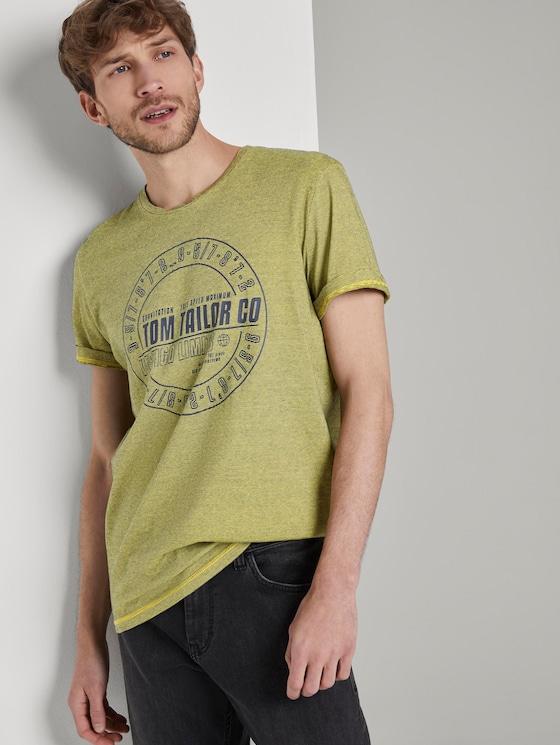 Gestreiftes T-Shirt mit Print - Männer - yellow overdye stripe - 5 - TOM TAILOR