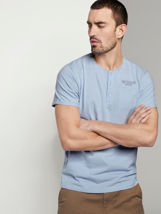Henley T-Shirt in Melange-Optik - Männer - light powder blue - 5 - TOM TAILOR