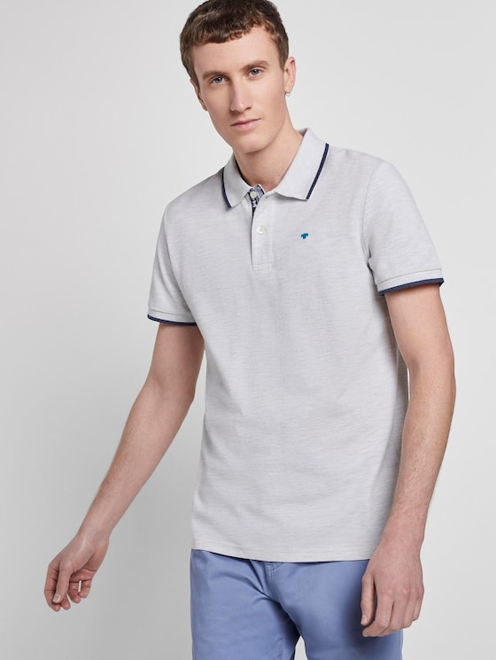Heather polo shirt - Men - Blanc De Blanc White Melange - 5 - TOM TAILOR