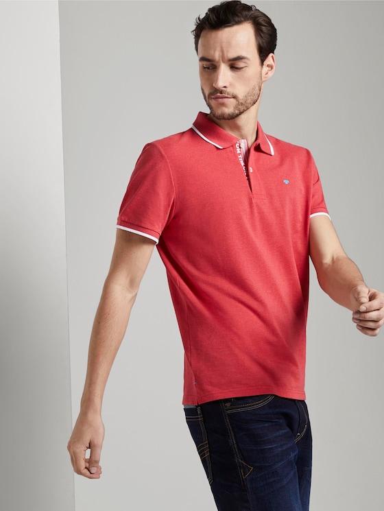 Meliertes Poloshirt - Männer - Brilliant Red Melange - 5 - TOM TAILOR