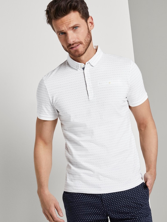 Poloshirt mit Strukturmuster - Männer - Off White - 5 - TOM TAILOR