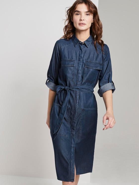 Denim dress with a tie belt - Women - Blue Denim - 5 - TOM TAILOR